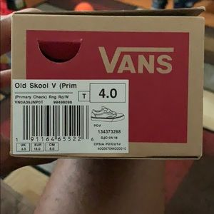 Red checkered vans size 4c